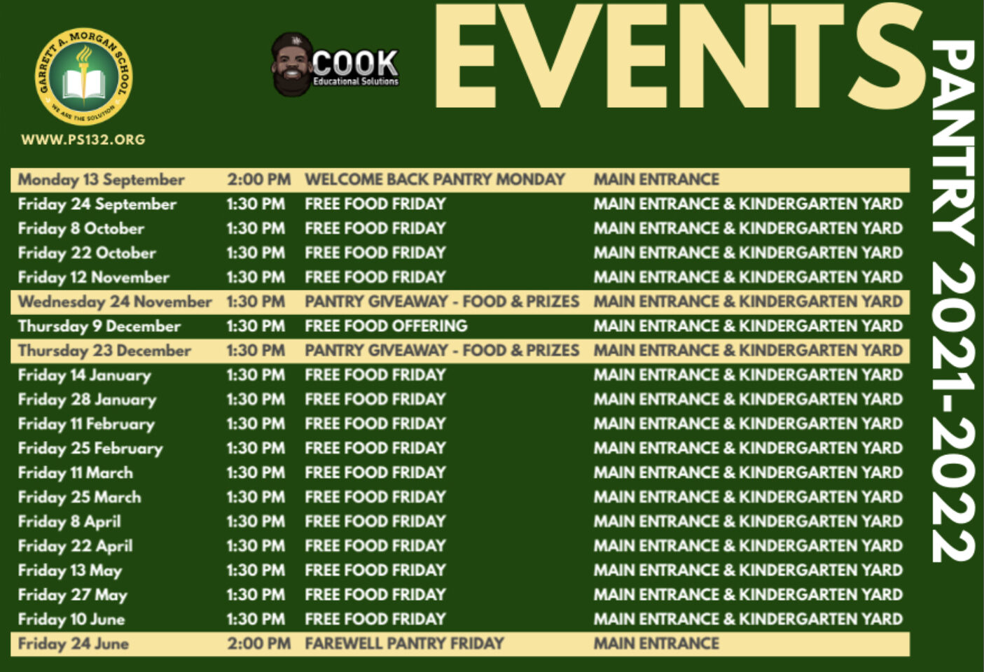 Pantry Events Calendar